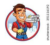 cartoon plumber worker  | Shutterstock .eps vector #351116192