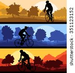 bicyclist riding bicycle... | Shutterstock .eps vector #351123152