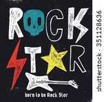 hand drawn rock star typography. | Shutterstock .eps vector #351128636