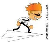 doodle man character on paper... | Shutterstock .eps vector #351132326