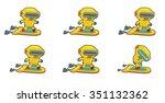 small yellow robot superhero on ... | Shutterstock .eps vector #351132362