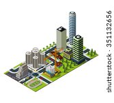 hotel and bank illustration.... | Shutterstock .eps vector #351132656