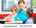 happy primary classmates with... | Shutterstock . vector #351139112