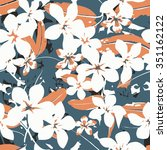 exotic seamless tropical floral ... | Shutterstock .eps vector #351162122