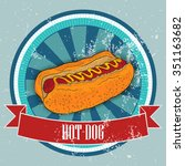 hot dog on vintage background   ... | Shutterstock .eps vector #351163682