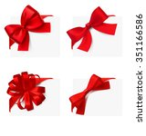 set of banners with bows.... | Shutterstock .eps vector #351166586