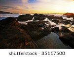 tropical sunset on the rocks | Shutterstock . vector #35117500