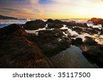tropical sunset on the rocks | Shutterstock . vector #35117500