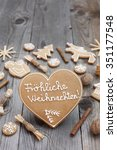 heart shaped christmas... | Shutterstock . vector #351177548