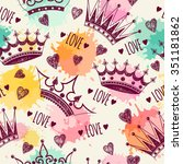 seamless pattern with crowns | Shutterstock .eps vector #351181862