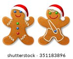 a set of christmas gingerbread... | Shutterstock .eps vector #351183896