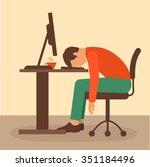 office work  desk worker ... | Shutterstock .eps vector #351184496