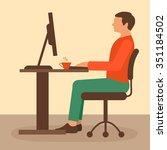 office work  desk worker ... | Shutterstock .eps vector #351184502
