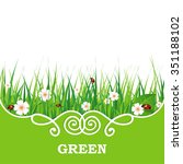 green grass lawn isolated on... | Shutterstock .eps vector #351188102