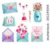 cute watercolor  romantic... | Shutterstock . vector #351195545