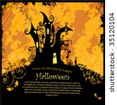 scary halloween castle with... | Shutterstock .eps vector #35120104