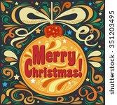 merry christmas. vintage... | Shutterstock .eps vector #351203495