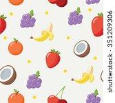 colorful fruit pattern in flat...   Shutterstock .eps vector #351209306