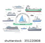 set of thin line ship flat...
