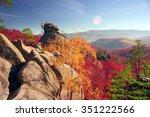 dovbush rocks in bubnyshche   a ... | Shutterstock . vector #351222566
