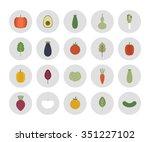 vegetables icons. vector... | Shutterstock .eps vector #351227102