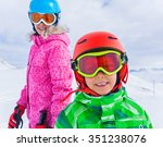 happy skier boy with his sister ... | Shutterstock . vector #351238076