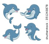 cute cartoon dolphins set.... | Shutterstock .eps vector #351243878