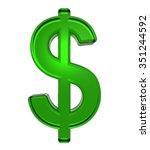 dollar sign from emerald... | Shutterstock . vector #351244592