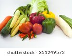 fresh organic vegetables on... | Shutterstock . vector #351249572