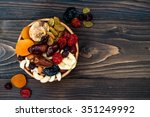 mix of dried fruits and nuts on ... | Shutterstock . vector #351249992