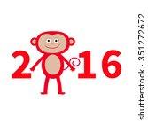 cute monkey. new year 2016. ... | Shutterstock .eps vector #351272672
