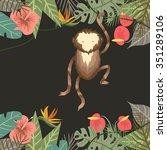 vector tropical border frame... | Shutterstock .eps vector #351289106