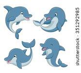 cute cartoon dolphins set.... | Shutterstock . vector #351292985