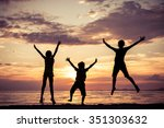 happy children playing on the... | Shutterstock . vector #351303632