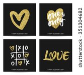 set of love cards for wedding... | Shutterstock .eps vector #351304682
