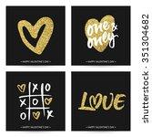 set of love cards for wedding... | Shutterstock .eps vector #351304682
