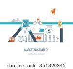 thin line flat design concept... | Shutterstock .eps vector #351320345