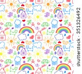 seamless pattern  drawn in a... | Shutterstock .eps vector #351326492