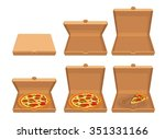 whole and slices pizza  of... | Shutterstock .eps vector #351331166