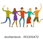 group of five happy friends ... | Shutterstock .eps vector #351332672