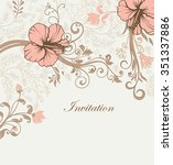 vintage invitation card with... | Shutterstock .eps vector #351337886