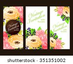 invitation with floral... | Shutterstock . vector #351351002