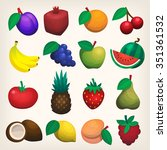 set of colorful flat juicy... | Shutterstock .eps vector #351361532