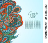 doodle ethnic card red and... | Shutterstock .eps vector #351383882