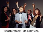 smart clubbers with champagne... | Shutterstock . vector #351384926
