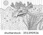 black and white drawing elk