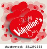 valentine's card with red hearts | Shutterstock .eps vector #351391958