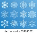 different forms of snowflakes ... | Shutterstock . vector #35139907