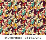 big group of people run... | Shutterstock .eps vector #351417242