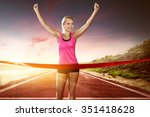 runner runs over the finish line | Shutterstock . vector #351418628